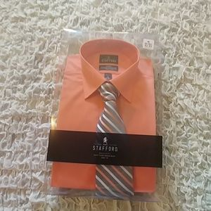 Salmon colored dress shirt with tie size medium